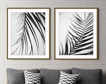 Palm Leaves Prints - Black and White - Botanical Print Set - 10% off - Minimal Wall Art - Gray Wall Art - Tropical Decor - Print Set of 2