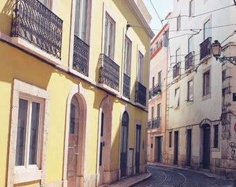 Lisbon, Travel Photography, Europe, Street Photograph, Pastel, Yellow Blue Wall Art, Architecture Art - Little Curve