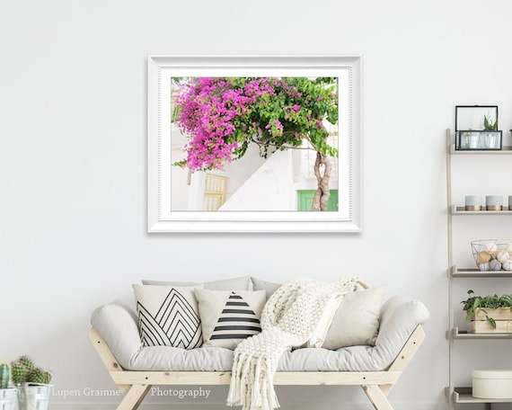 Greece Print, Travel Photography, Pink Green Wall Art, Bedroom Decor,  Flower Photography, Bougainvillea Flowers - Greece Flowers Six