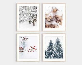 Winter Photography Print Set, Set of 4 Prints, Rustic Holiday Wall Art Decor, Snow, Farmhouse, Winter Wall Art Set, Nature Photography