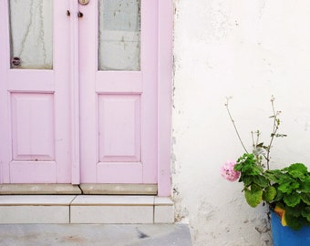 "Greece Photography, Pink Door Photograph, Pastel Wall Decor, Doorway, Entry Room Art, Architecture Art ""Pastel Pinks"""