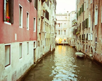 "Venice photograph Italy travel photography pastel coral pink olive green muted palette dusk twilight ""Eventide"""