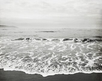 "Beach Photography Black White Large Wall Art Ocean Photography Charcoal Gray California Winter Beach  ""Black Sand"""
