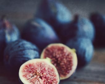 "Food still life photography fig art print rustic kitchen decor fruit wall art ""Figs Two"""