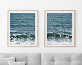 "Ocean Print Set - Blue Wall Art - Beach House Decor - Print Set of 2 - Beach Bedroom Decor - Set of Two Prints - Dark Teal ""California Sea"""