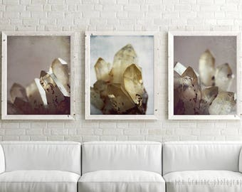 "20% Off | Crystal art prints | nature wall art | mineral gemstone art | gray mauve pale yellow photographs 11x14 ""Rock Crystal Set of Three"""