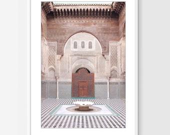 Morocco Wall Art, Archway Print, Tiles, Interior, Morocco Architecture, Fountain, Aqua Blue Brown, Travel Photography Print - Madrasa