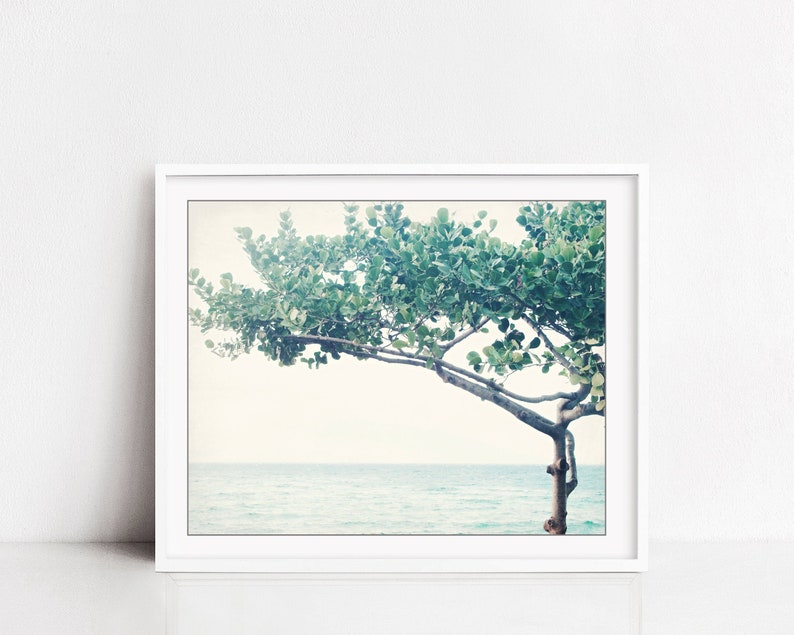 Ocean Print  Seascape Nature Photography Minimal Tree Print image 0