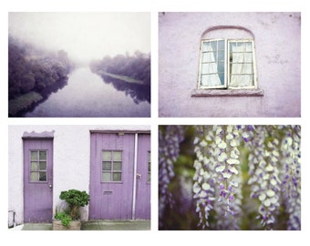35% off - Purple photography set purple wall art set of four prints photography plum home decor lavender art prints 5x7 8x10 11x14