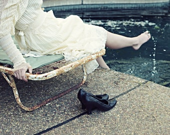 """Fine Art Photography - Portrait Photography - Swimming Pool - Woman at Pool - Vintage Lace Dress """"Poolside"""""""