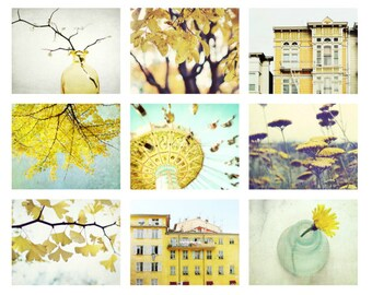 50% off - Photography print set - yellow wall art - set of nine prints - fine art photographs - print set of 9 - yellow wall decor