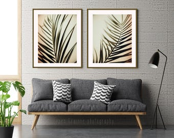 Palm Leaf Wall Art Prints - Botanical Print Set - Minimal Nature Wall Art - Peach Olive Green Wall Art - Print Set of 2 - Tropical Decor