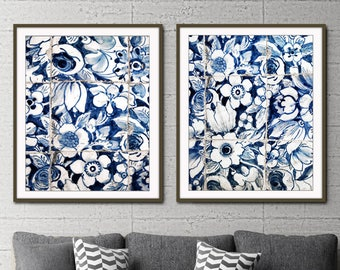 "Blue and white wall art, Lisbon Portuguese tiles print, azulejos, print set of 2, photography set ""Lisbon Tiles 6 & 7"" floral wall art"