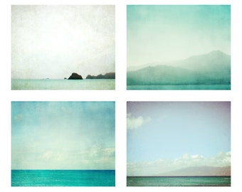 Ocean photography set - 35% off - aqua blue wall art - bathroom decor  - water photograph - minimal ocean beach photo set