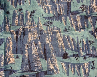 vintage 1950s blue cliffs pines print cotton fabric 36 in x 3.65 yd