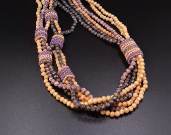Multi-Strand Blue, Purple, Beige and Orange Marbled Glass Pearls Necklace with Beadwoven Wrap Rings. Pullover Long Beaded Necklace S-412