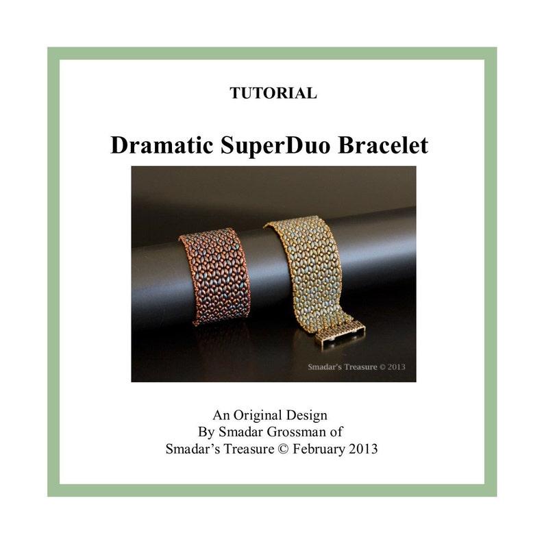 Beading Tutorial Dramatic Superduo Bracelet. Beadweaving image 1