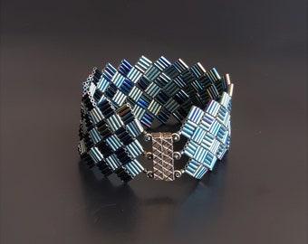 Metallic Blue/Green Iris and Matte Patina Iris Beaded Bracelet. Diagonal Blocks Geometric Cuff with Long Beads and Magnetic Clasp. S-411