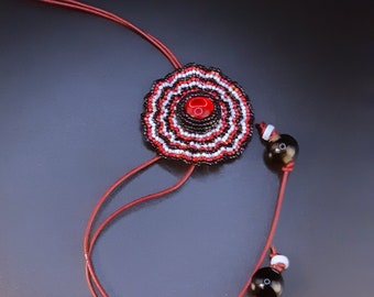 Adjustable Corrugated Flower Pendant in Red, Black, White on Red Leather Cord Necklace. Round Beaded Pendant Leather Necklace S-413