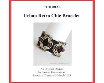 Beading Tutorial, Urban Retro Chic Bracelet. Beading Pattern with Twin Beads, Crystals and Seed Bead. Beadweaving Beadwork PDF File Pattern