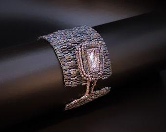 Matte Metallic Blue Iris Bracelet with Faceted Swarovski Crystal Violet Trapeze Stone Button Clasp. Textured Tiny Triangles Bracelet  S-401