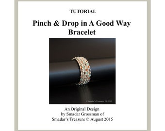 Beading Tutorial Bracelet Pattern, Pinch and Drop in A Good Way. Option to Reversible. Pinch and Drop Beads Beadweaving Instant PDF Download