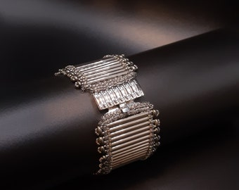 Dark Silver Shimmering Textured Bracelet with Small Embellishment Beads. Wide Beadwoven Cuff Bracelet in Shades of Silver and Grey. S-403
