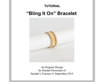 Beading Tutorial Bracelet Pattern with Bugle Beads, Rose Montee, Seed Beads / Bling It On / Jewelry Making Pattern by Smadar Grossman