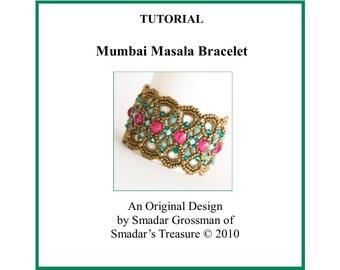 Tutorial Beading Pattern, Mumbai Masala Bracelet. PDF File Instant Download. Beadweaving with Crystal Beads. Pattern by Smadar Grossman
