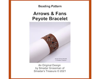 Bracelet Beading Pattern / Arrows and Fans Cuff Bracelet / Odd Count Peyote Stitch / Off Loom Beaded Cuff Pattern for Instant Download PDF