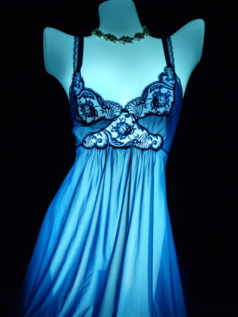 1d3db482bb Miss elaine vintage nightgown sapphire blue nylon lingerie