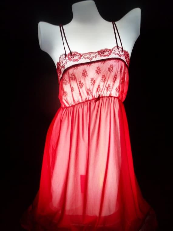 08d1e2335e Lorraine nightgown vintage peignoir gown robe cherry red nylon