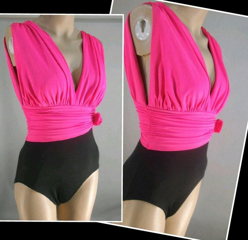 93c0949308b Catalina Swimsuit Ultra Low Cut 80s Neon Pink Black Bathing   Etsy
