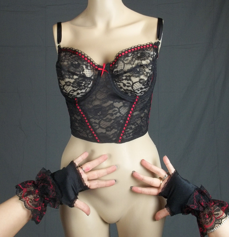 ecc8abba1a608 Vintage satin bra black lace long line fingerless nylon gloves