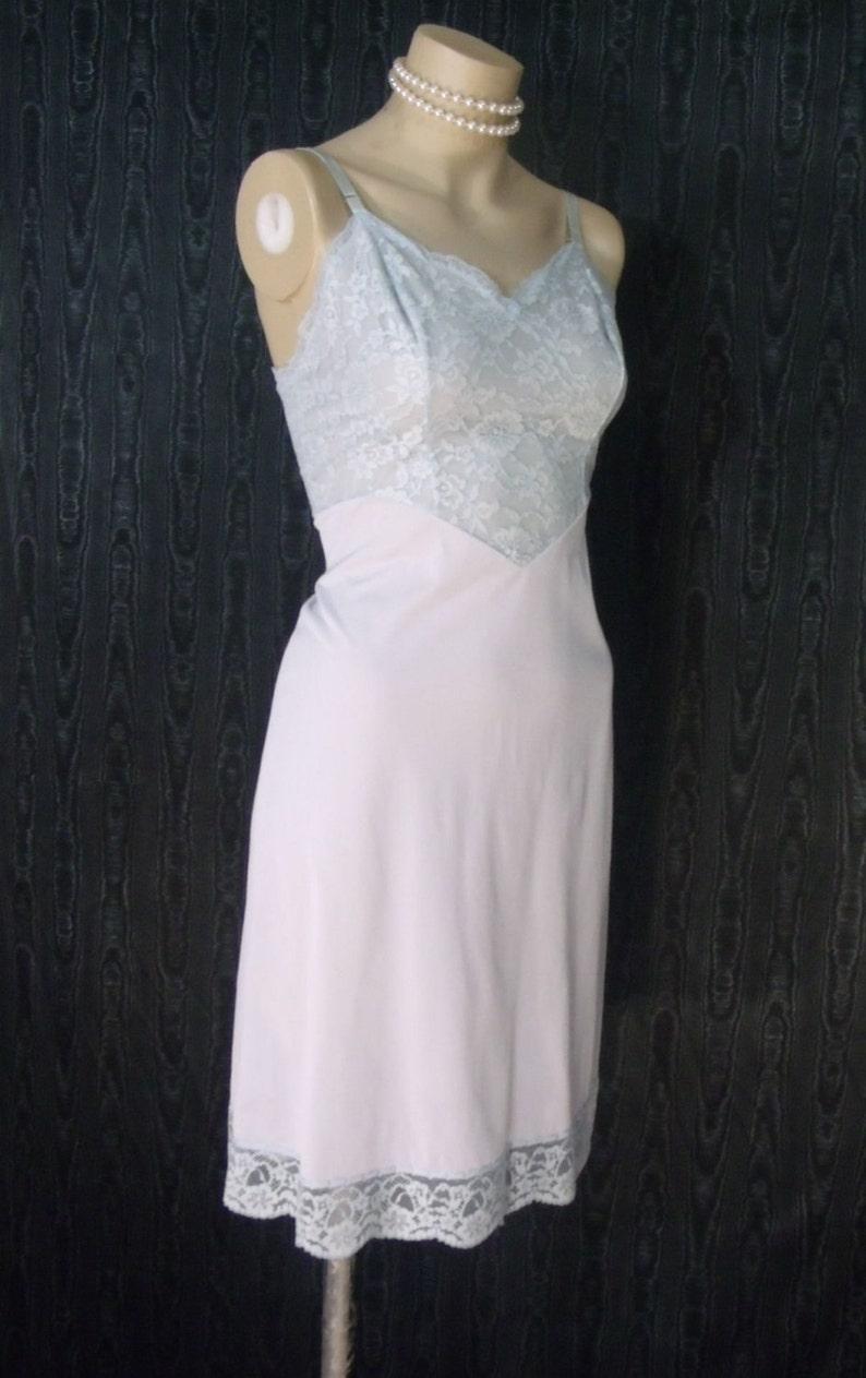 b52298c7525c Full slip vintage vanity fair sheer blue nylon tricot lace   Etsy