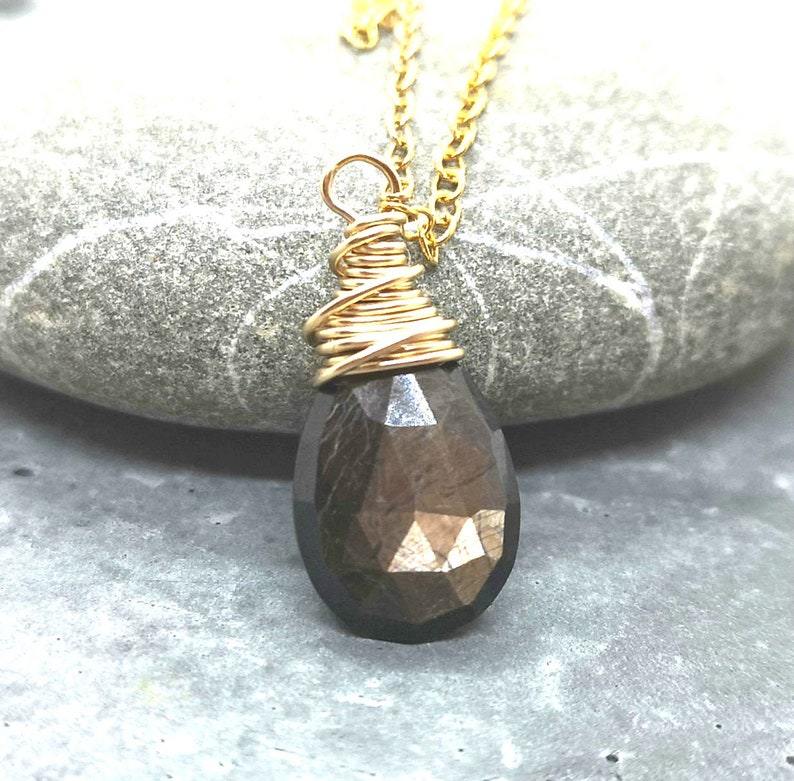 Brown Sapphire Necklace Gold Filled  Semi Precious Briolette Pendant Gemstone Jewelry September Birthstone Necklace Handmade Gifts For Her