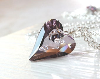 Purple Heart Necklace  Sterling Silver  Swarovski    Crystal  Jewelry Heart Unique Gifts   Gifts For Women Swarovski Pendant