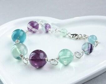 SALE Fluorite Bracelet  Sterling Silver  Gemstone Jewelry Made For Her  Multi Colored Gem  Stone Bracelet Healing Stones off sale discount