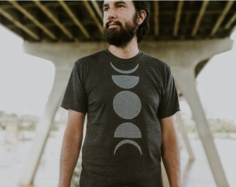 Moon Phase Shirt, Outdoor Gift Men, Mens Clothing Gift, Travel Gift for Him, Mens Graphic Tee, Astronomy Screen Print