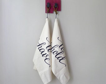 Matching Kitchen Towels, Cotton Anniversary Gift, Mothers Day Gift Tea Towel Set, Foodie Couples Wedding Gift, To Have and To Hold
