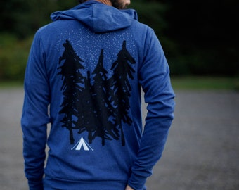 Lightweight Camping Zip Up Hoodie for Men or Women, Unique Gift for Him, Outdoor Adventure Wanderlust Hiking Shirt