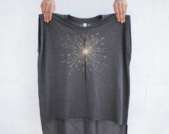 dfac1c449 Loose Fit Flowy Women's 4th of July Shirt, Sparkler Print, Boho Clothing,  Dark Gray Muscle Tee, Boxy Hi-Lo Hem T-shirt, Graphic Tee Women