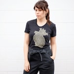 Anatomical Heart of Gold Women's T-shirt, Unique Clothing Gift for Girlfriend, Nature Lover Plant Lady Shirt, Metallic Gold Graphic Tee