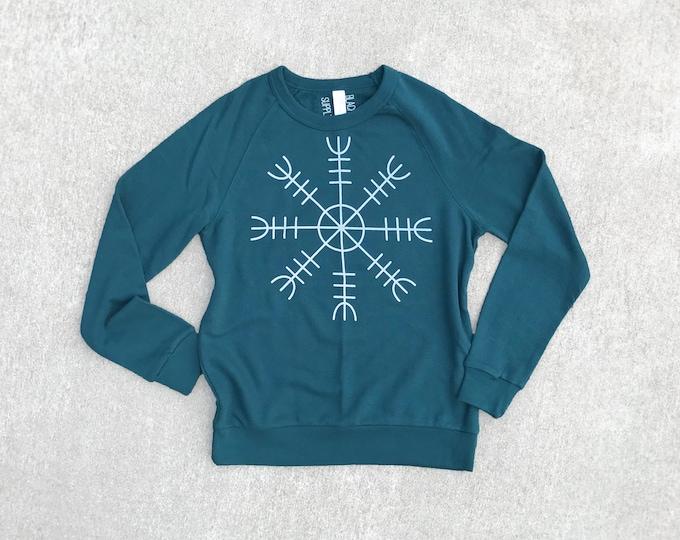 Mens Cotton Terrycloth Snowflake Sweatshirt, Boyfriend Christmas Gift for Him, Norse Mythology Scandinavian Pullover Sweater