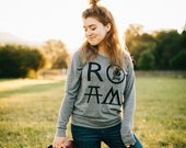 ROAM Happy Camper Shirt, Clothing Gift Girlfriend, Long Sleeve Camping Shirt, Travel Hiking Womens Top, Lightweight Slouchy Raglan Pullover
