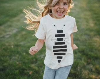 Bumble Bee Honey Bee Shirt, Organic Cotton Shirts for Girls, Eco Friendly Clothing Gifts for Kids, Baby One Piece or Toddler T-Shirt