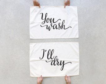 You Wash, I'll Dry Tea Towel Set, Home Gifts, Unique Friendsgiving Host Gift, Eco Friendly Dish Towels, Foodie Gift for Couples