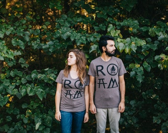 ROAM Matching Tshirt Set, Hiking Gift Couples Shirts, Off the Grid Camping, Road Trip Travel and Adventure Print