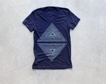 Rule of Thirds - tshirt for women | ladies graphic tee - geometric triangle print on navy blue top - Blackbird Tees - CLOSEOUT