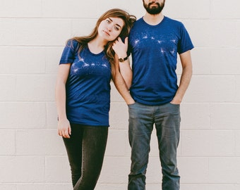 Matching Couples Shirts, Astronomy Tshirts Wedding Gift, Celestial Big Little Dipper Constellation Galaxy Graphic Tees, His and Hers Shirts